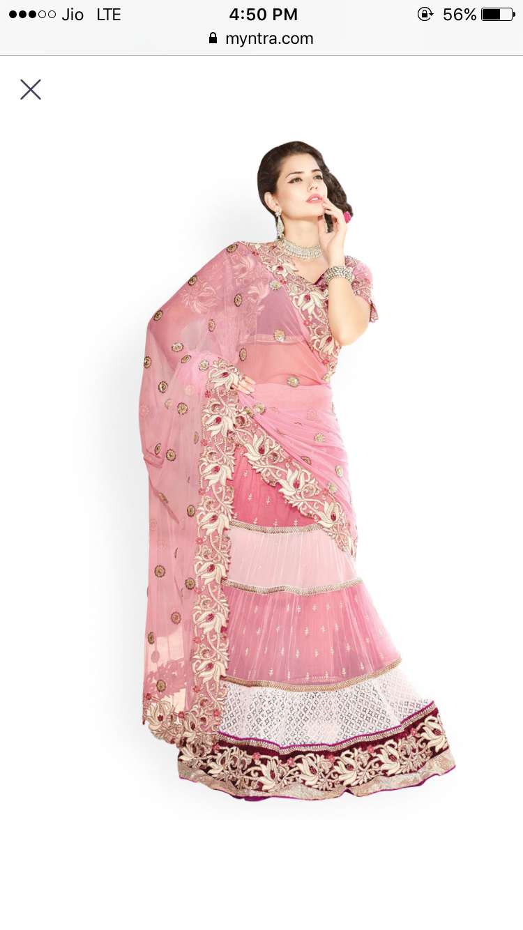 Glam and Glitter with Lehenga Saree From Myntra Online Shopping
